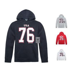 Patriotic USA 76 Team Game Winter Olympics Pullover Hoodie Sweatshirt w Pockets
