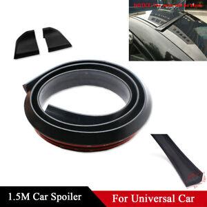 1.5M 4.9ft Auto Car Rear Roof Trunk Spoiler Wing Lip Sticker Black Soft Rubber