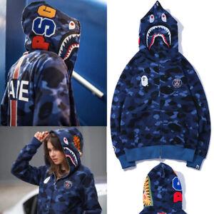 a Bathing Ape Bape Shark Jaw Camo Full Zipper Hoodie Sweats Coat Jacket