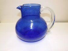 LARGE HEAVY COBALT BLUE CONTROLLED BUBBLE GLASS PITCHER APPLIED HANDLE