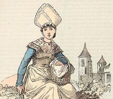 Ancienne gravure aquarellée costume populaire Loches Indre-et-Loire