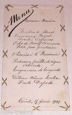 Menu février 1919 de Germaine et Maurice pour Madame Henri LAMBERT