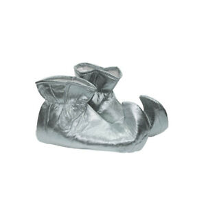 Silver Elf Shoes Shiny Cloth Costume Christmas Xmas Jester Pointy Adult Helper