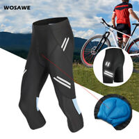 Men Cycling Shorts Bicycle Gel Padded MTB Road Team Bike 3/4 Pants Riding Tights