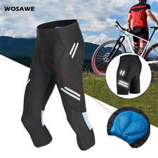 Men Cycling Shorts Bicycle Gel Padded MTB Road Team Bike 3/4 Pants Riding Tights