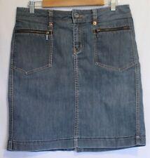 JAG JEANS ~ Mid Blue Stretch Denim Wash Straight Skirt w Copper Rivets 12