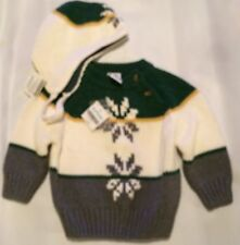 Boy's Set Gymboree Snowflake Hat 2 Piece Sweater GREEN CREAM GRAY HOLIDAY 3-6 Mo
