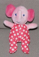 "Garanimals 6"" Pink White Polka Dot Elephant Rattle Mini Stuffed Plush Baby Toy"