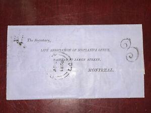 Canada 1858 Life association Of scotland's office stampless Folded lettrer,