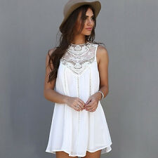 Women Lace Sleeveless Long Tops Blouse Shirt Ladies Beach Boho Mini Dress New#