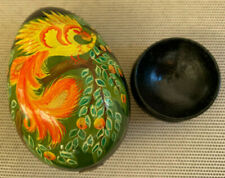 Lacquer Russian Wood Egg Footed Black Stand Nail USSR AK Red Yellow Phoenix Bird