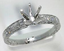 Woman's Diamond Engagement Ring Setting 18k White Gold Six-Prong Top