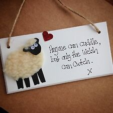 Handmade Wooden Sheep Cwtch Cuddle Sign Mother's Day Gift Plaque Welsh Wales