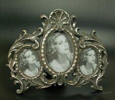 Rokoko Barock Bilderrahmen Fotorahmen 3 Bilder Fotos Collage Oval silber Antik
