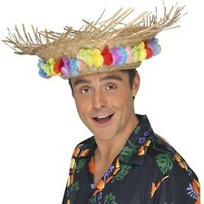 Disfraz Adulto Paja Sombrero Playa con Adorno Flor Hawaiian Vacaciones Smiffys