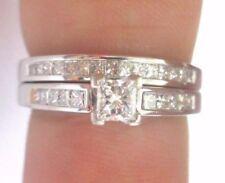 18KT Princess Cut Diamond Solitaire W Accents Wedding Set .80CT E-VVS1-2