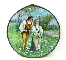 Vintage Flue Cover Round Glass Framed romantic couple love French country chic