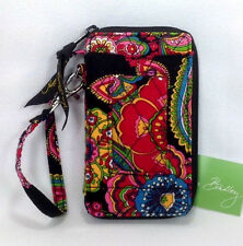 Vera Bradley Symphony In Hue Wristlet Wallet Black New Flower Red Blue NWT