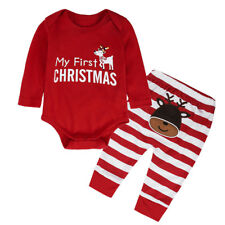 Baby Girls Boys My First Christmas Elk Outfit Sets Long Sleeve Tops Romper Pants