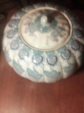 Vintage 9 Inch Blue And White Pumpkin Bowl With Lid