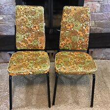 Vintage MCM 1960's kitchen dining room Orange floral chairs mid century modern
