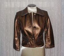 Leather Jacket Womens Sz XS 0 - 2 Metallic Copper Gold Brown Ideology EUC WOW!