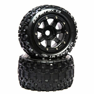 """Duratrax SixPack MT Belt 2.8"""" Mounted Front/Rear Tires .5 Offset 17mm Black 2"""