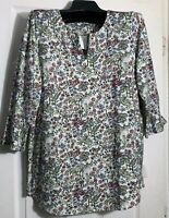 Pure J Jill women XL Pima cotton Shirred back Elliptical tunic Top floral New