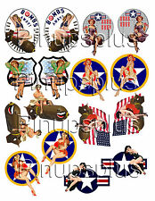 WWII Pinup Model Building RC Plane Nose Art decals 8 pair #331 by Pinupsplus