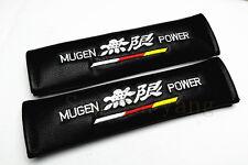 2Pcs Mugen Power Black PU Leather Embroidery Car Seat Belt Cushions Shoulder Pad