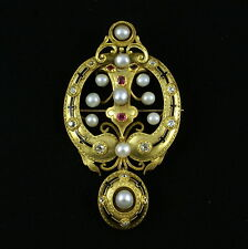 Gold Brooch with Diamonds, Rubies and Pearls. 19th century.