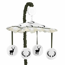 Rustic Deer Buffalo Plaid Green Beige Woodland Camo Musical Baby Boy Crib Mobile