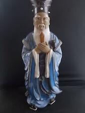 "Large CHINESE Pottery Ceramic Figure 13"" Glazed & Terracotta Crisp Features MINT"