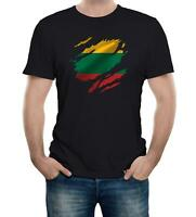 Torn Lithuania Men's Flag T-Shirt Lithuanian Vilnius Country national sport