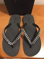 GIUSEPPE ZANOTTI Florida Black Flip Flop with Silver Chain Size UK 8.5  £240