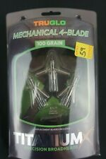 TruGlo Broadhead Titanium X Mechanical 4 Blade 100 Grain 3 Pack Tg3202Av New