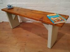 4ft Old Hand Made Reclaimed Floorboards Solid Pine Dining Bench Painted F&B Gray