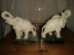 Vintage Original Faux Ivory Elephant Book Ends. Resin - Black Marble Bases.