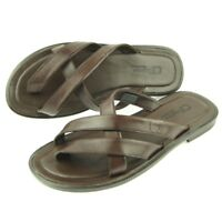 Charles Stone Leather Men's Split-Toe Slide Sandals, Brown 7-12US/40-45EU