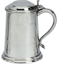 More details for pewter tankard with lid classic shape wide base polished finish 1pt engravable