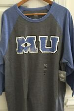 Monsters University Disney Store Men Xxl Pixar Blue Gray Baseball Tee Shirt