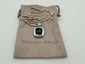 David Yurman 14mm Albion Pendant Necklace with Hampton Blue Topaz and 18 chain