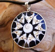 Riesig 5,5 cm Silber Anhänger Ø 4,5 cm  Muschel Perlmutt Shiva Eye Buddha Stern