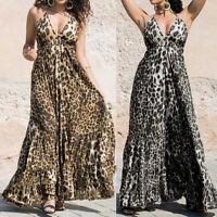 Women's Holiday Sleeveless Long Maxi Dress Sexy Leopard Print Beach Sundress