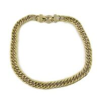 """Nolan Miller Vintage Chunky Gold Tone Chain Link Necklace Crystal Rhinestone 20"""""""