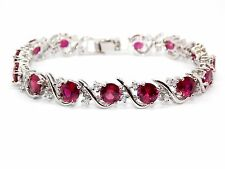Silver Ruby And White Topaz 16ct Bracelet (925)