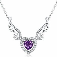 "Valentine's Day Gifts Natural Gemstone Amethyst ""Angel Wings"" Sterling Silver..."
