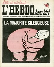 """L'HEBDO HARA-KIRI N°57 du 2/3/1970"" REISER : LA MAJORITE SILENCIEUSE (CHUT)"