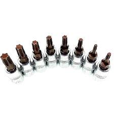 8pc Torx Star Socket Bits 1/4 inch Drive T8 T10 T15 T20 T25 T27 T30 T40 S2 Steel