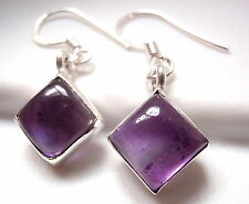Small Amethyst Square Earrings 925 Sterling Silver Dangle Drop New